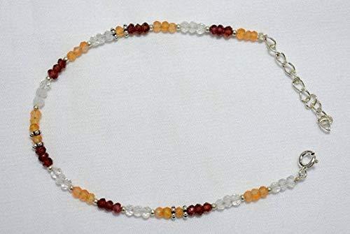 World Wide Gems Gemstone Beaded Bracelet,Garnet Bracelet,Carnelian Bracelet,Crystal Bracelet, Silver Bracelet for Women Size-3-3.5 mm