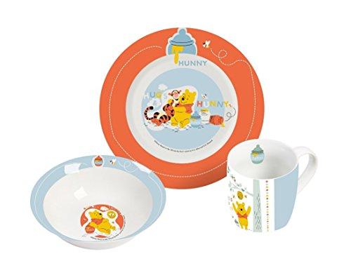 Disney Winnie Pooh 3-teiliges Porzellan Frühstückset Frühstücksset, Mehrfarbig, 19 x 9 x 19 cm, 3-Einheiten
