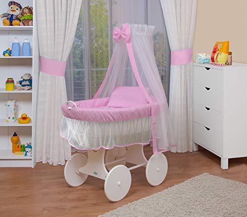 WALDIN Baby Stubenwagen-Set mit Ausstattung,XXL,Bollerwagen,komplett,6 Modelle wählbar,Gestell/Räder weiß lackiert,Stoffe rosa/weiß