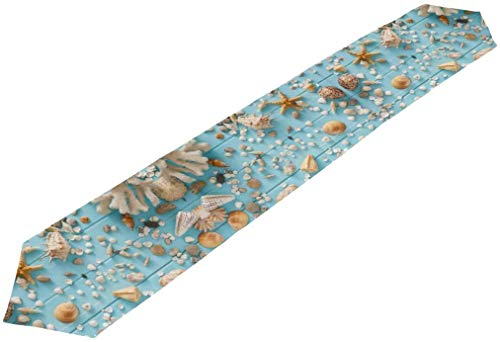 BONRI Double-Sided Seashells On Blue Wood Vacation Table Runner 13 x 90 Inches Long,Table Cloth Runner for Wedding Party Holiday Kitchen Dining Home Everyday Deco