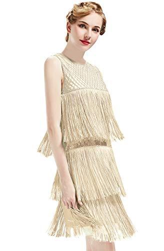 ArtiDeco 1920s Charleston Kleid Damen Knielang Cocotail Party Kleid 20er Jahre Flapper Damen Gatsby...