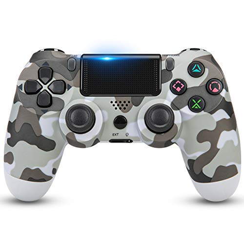 Wireless Controller for PS4,Remote for Playstation 4 with Charging Cable, Game Controller Joystick with Dual Vibration/6-axis Gyro Sensor/Audio Function/800mAh (Gray Camouflage)