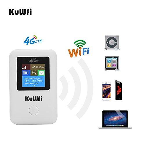 router 4g con sim viaggio, KuWFI router portatile sim Cat4 150 Mbps, router WiFi scheda SIM 4G LTE supporto FDD B1 / B3 / B7 / B8 / B20 per aggiornamento display LCD auto