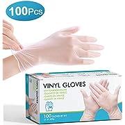 Guanti monouso 100 pezzi transparente L, CAVEEN Guanti monouso realizzati in guanti per la pulizia in PVC guanti impermeabili per cucinare barbecue pulizia giardinaggio salone di bellezza