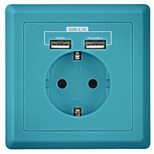 Minadax stopcontact met USB-aansluitingen, past in standaard inbouwdoos, laden van alle mobiele apparaten, iPhone, iPad, smartphone, mp3, inbouw