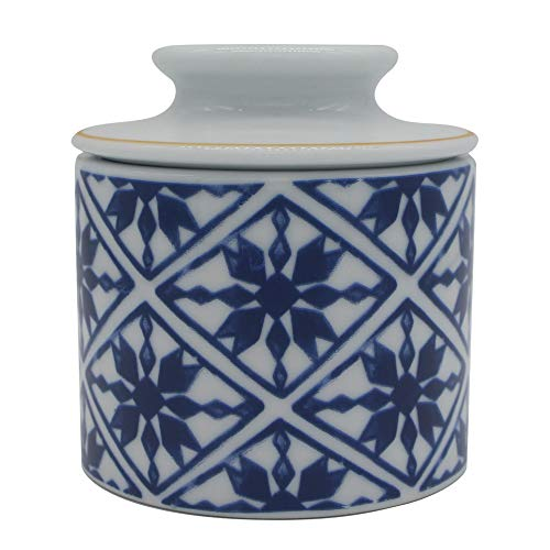 Windomere Handmade Porcelain Butter Keeper Crock - French Butter Dish - 4Ounce Capaicty,Oriental Blue and White