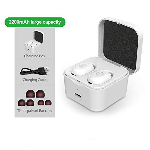 ZJDY TWS 5.0 Bluetooth koptelefoon draadloze koptelefoon vingerafdruk-noten-sport bas-hoofdtelefoon met microfoon stereo voor racen sport, wit