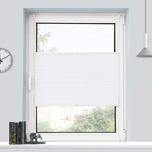 BondFree Plissee Klemmfix Plisseerollo ohne Bohren (45x130cm Weiß) Faltrollo Jalousie Sonnenschutz und Sichtschutz für Fenster & Tür