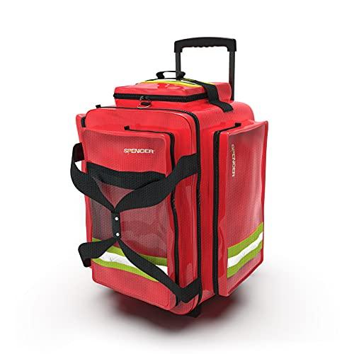 Spencer R-AID Trolley PRO - Zaino Pronto Soccorso Sanitario, Professionale 45L con 4 Ruote, Borsa Emergenza Medica Primo Salvataggio EMS/EMT/BLS, Medico Paramedico Soccorritore, 5 Sacche incluse.