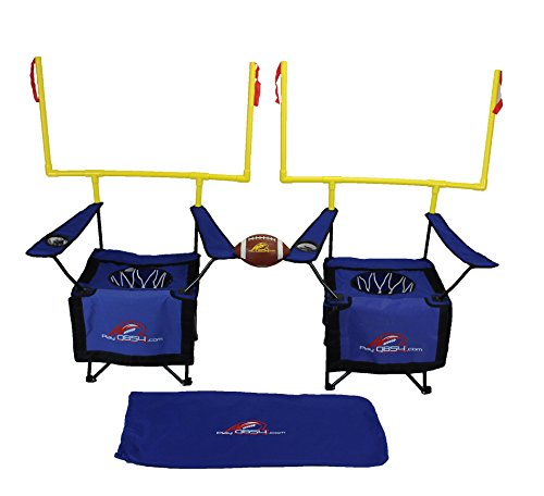 QB54 Outdoor Football Set - Football Toss and Kick Game Built into 2 Folding Chairs - Blue