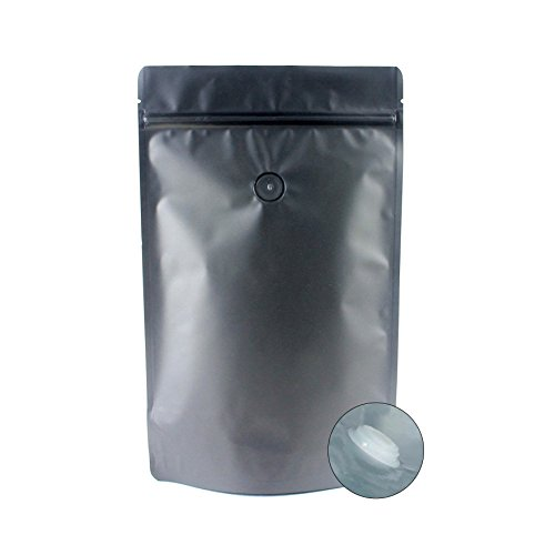 AwePackage High Barrier 12 oz Foil Stand up Zipper Pouch Coffee Bag with Valve (Matte Black, 25)