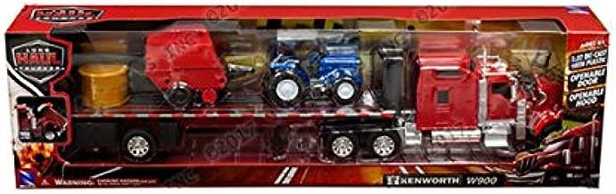 NewRay 1:32 Long Haul Trucker - Kenworth W900 Flatbed with Hay Bale Tractor