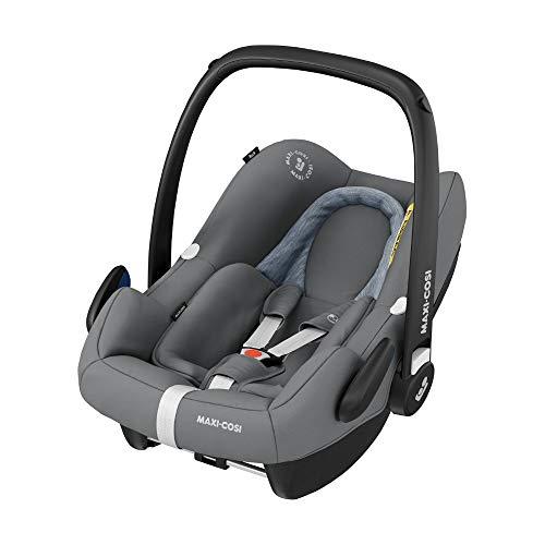Maxi-Cosi Rock Babyschale, sicherer Gruppe 0+ i-Size Baby-Kindersitz (0-13 kg), nutzbar ab der Geburt bis ca. 12 Monate, passend für FamilyFix One Basisstation, essential grey