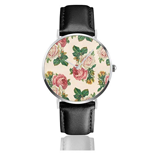 Rústico Shabby Rose Floral Patrón Rosa Rosa Rosas Reloj Movimiento de Cuarzo Impermeable Correa de Reloj de Cuero para Hombres Mujeres Simple Negocios Casual Reloj