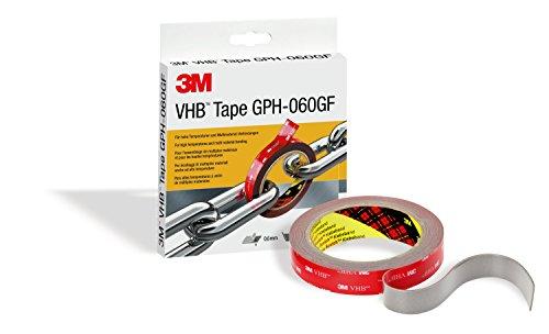 3M VHB GPH-060GF Doppelseitiges Hochleistungs-Klebeband für dauerhafte Verbindung, Hitzebeständig, UV-Beständig, 19 mm x 3 m, 0.6 mm, Grau