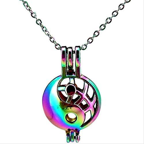 NC110 Collar Collar de Color arcoíris I Ching Bagua Tai Chi Ying Yang Collar con Colgante de Jaula de Perlas Aroma Difusor de Aceite Esencial Regalo Divertido Collar Regalo