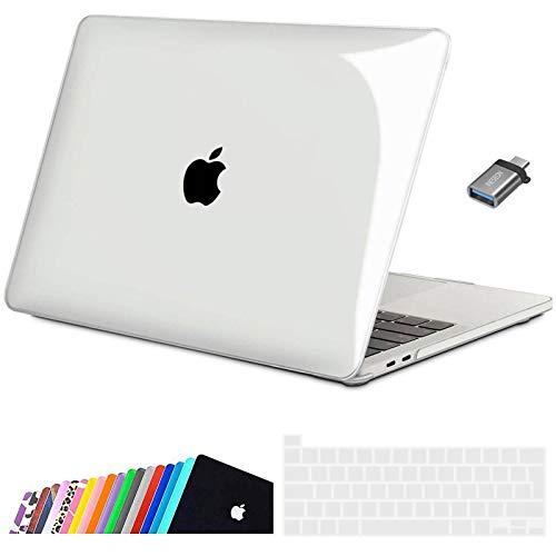 INESEON Funda 2020 MacBook Pro 13 Pulgadas con Touch Bar A2338(M1)/ A2251/ A2289, Ultra Delgado Carcasa Protector Case Cover con Cubierta de Teclado & Adaptador USB C, Cristal Transparente