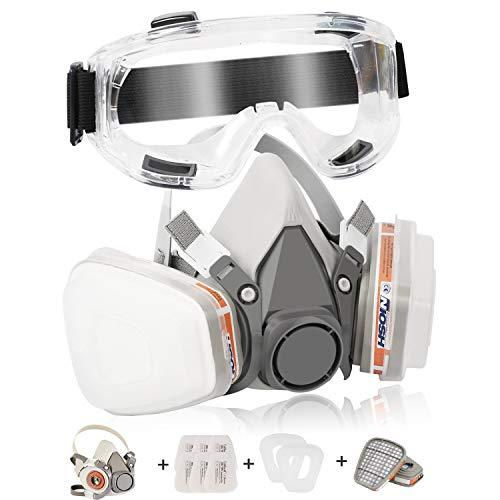 Atemschutzmaske Staubmaske Zelbuck 107 Respirator Hlabmaske Set mit Schutzbrille Gasmaske mit Filter Gegen Gase, Dämpfe und Partikel Lackiermaske für Farbspritz, Handwerker, Heimwerker und Pestizid