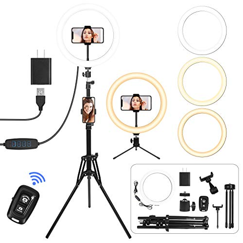"""12"""" Selfie Ring Light with Tripod Stand, 2 Phone Holder Dual 61"""" Height & Desk Tripod 3 Mode Selfie Ring Light for Makeup Photography Live Streaming, Shutter Ring Light for iPhone & Android (12""""-Dual)"""