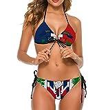Women's Fashion Sexy Adjustable Halter Bikini Set Swimwear Two Piece Bathing Suits for Summer Holiday Beach (S) - Dominican Republic Flag