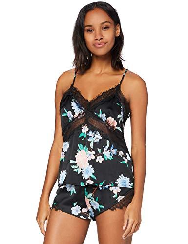 Iris & Lilly Damen Pyjama-Set aus Satin, Mehrfarbig (schwarz tropisch), S, Label: S