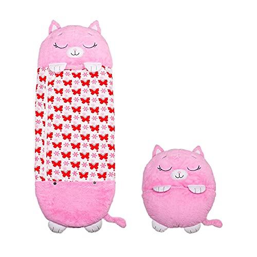Happy Nappers Katze pink Medium   Spielen - kuscheln - schlafen   Flauschiger Kinderschlafsack   4 verschieden Motive   das Original aus dem TV