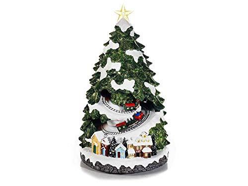Gruppo Maruccia Carillon a Forma di Albero di Natale con trenini Natalizi in Movimento luci e Suoni...