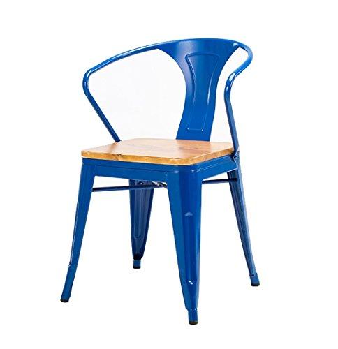 Barhocker Massivholz hohe Hocker Küche Esszimmer Stuhl Rückenlehne Hochstuhl Freizeit Sitz Retro runden Tisch Retro Industriedesign (Farbe : Blau)