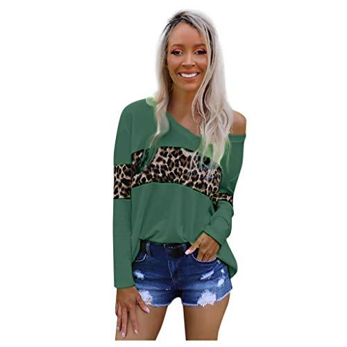 Casual blouse met lange mouwen, V-hals, voor dames, lange mouwen, schoudervrij, met luipaardennaad, ronde hals, extra grote maat, voor dames, herfst, basic blouse