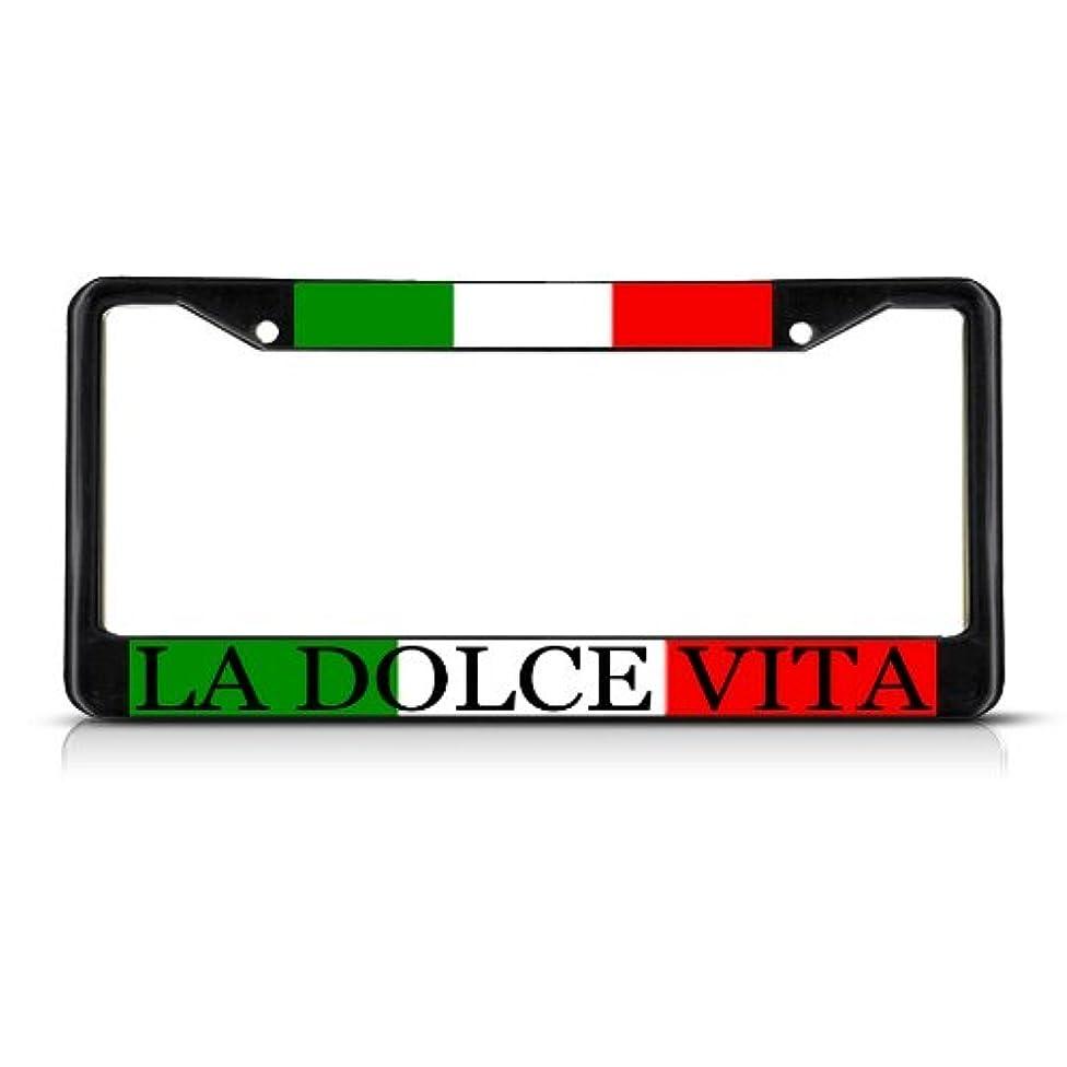 Fastasticdeals LA Dolce VITA Italy Italian Metal License Plate Frame Tag Border Two Holes Black