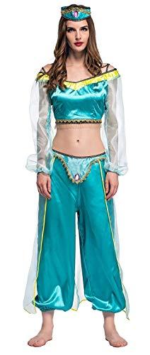 KIRALOVE Costume Jasmine Donna - Odalisca - Araba - Principessa - Travestimento - Carnevale - Hallowen - Cosplay - Ragazza - Colore Azzurro - Taglia M
