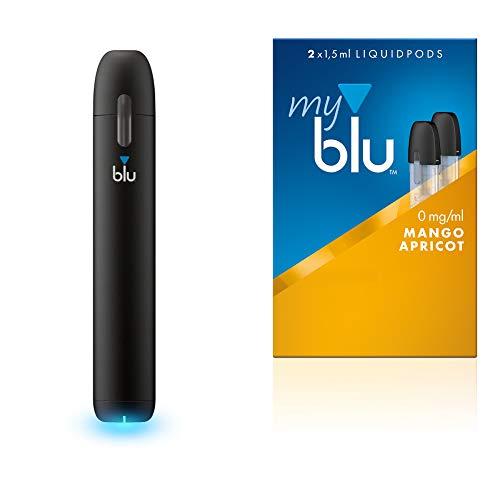 E-Zigarette Starter Set = 1x Batterieeinheit + 1x Podpack (siehe Auswahl) + Original myblu Zugaben + Farbwechsel für Vape Device - nikotinfrei (1 x Batterie-Einheit + Aroma Mango-Apricot)