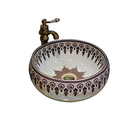 L'art européen au-dessus du bassin de comptoir rond en céramique lavabo bassin américain bassin de lavage de l'étape (44x15cm) Meubles-lavabos