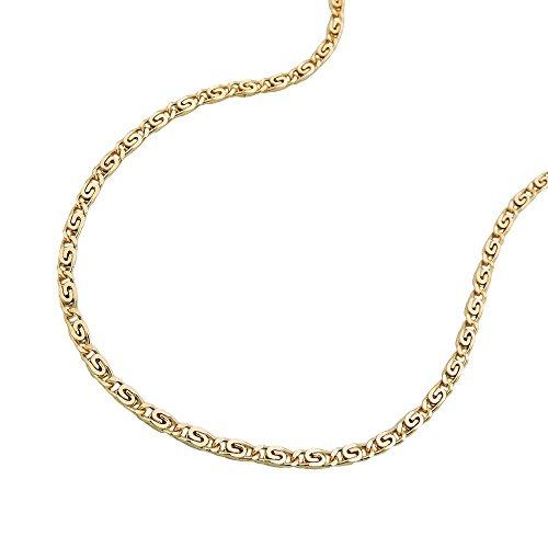 Schmuck-Krone - Collana girocollo a maglia piatta, in oro giallo 585, spessore maglia 1,2 mm, lunghezza 42 cm