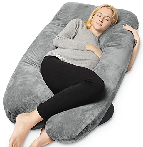 Full Body Pregnancy Pillow with Removable Cover-U Shaped By QUEEN ROSE,Gray