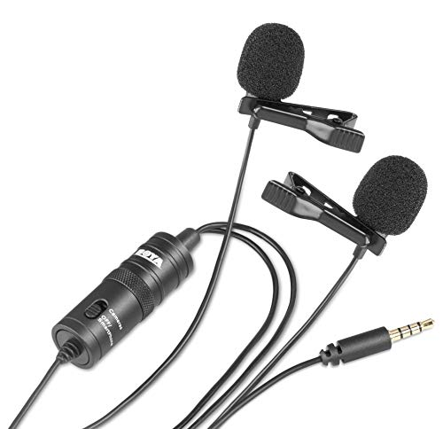 Boya BY-M1DM Dual Lavalier-microfoons, omnidirectionele condensator, handsfree microfoon met een 1/8 inch stereo-aansluiting voor camera, DSLR, iPhone, Android, Samsung, Huawei, Sony, PC, laptop