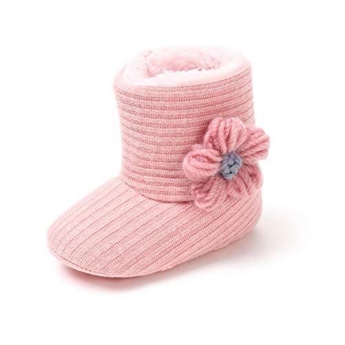 Botas de Ganchillo Lana Bebé Invierno Soft Sole Crib Caliente Patucos de Niñas Algodón con Flor (6-12 Meses, Rosa, Tamaño de Etiqueta 12)
