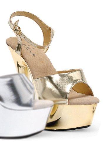 Ellie Shoes Women's 609-Chrome Peeptoe Platform Sandals Gold 5