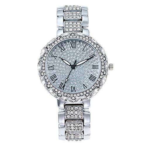 SeniorMar-UK Reloj de Pulsera de Cuarzo de Lujo con números Romanos de Superficie de Diamantes de imitación con Banda de Acero Gypsophila para Mujer Plateada