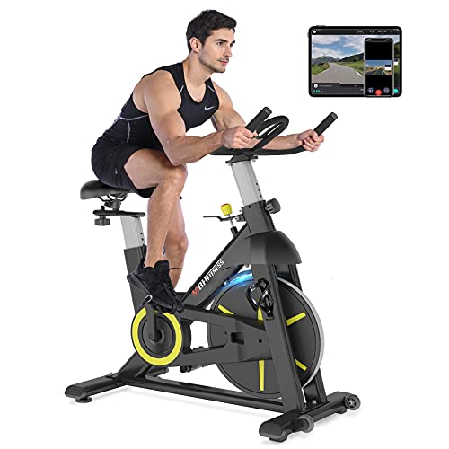 MBH Fitness Magnetic Exercise Bike Stationary, Indoor Cycling Bike for Home Gym Use, Fitness App, 330Lbs Weight Capacity, Tablet Holder, Bottle Holder, Quiet Cardio Workout Equipment(Black)