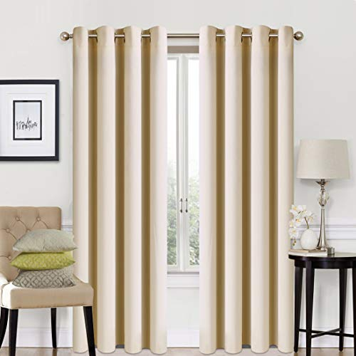 Blackout Curtains 2 Panels Set Thermal Insulated Window Treatment Solid Eyelet Darkening Curtain for Living Room Bedroom Nursery,Beige,46x90 Inches