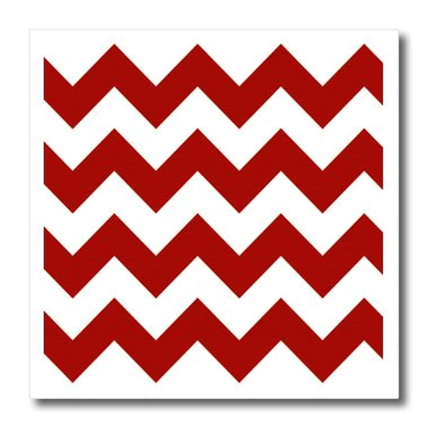 3dRose ht_149892_2 Red and White Chevron Pattern Iron on Heat Transfer, 6 by 6-Inch, for White Material
