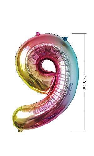 PARTY Globos de Cumpleaños - Número Grande en Multicolor Metalizado - Fiesta de cumpleaños y Aniversarios - Gigante 105 cm - Hinchable - Tamaño XXL (9-Multicolor)