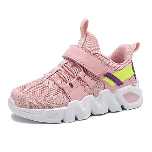 Sneaker Mädchen Schuhe Kinder Turnschuhe Sportschuhe Laufschuhe Hallenschuhe Innen Außen Fitnessschuhe Freizeitschuhe Atmungsaktiv Leicht Boys Running Walking Shoes für Unisex Pink 28EU