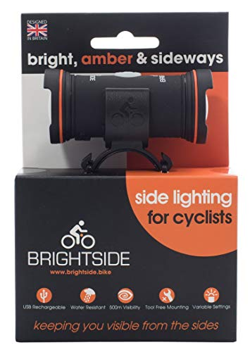 Brightside - Side Lights For Cyclists. Bright, Amber, Rechargeable and Waterproof. 20 Hours Run Time