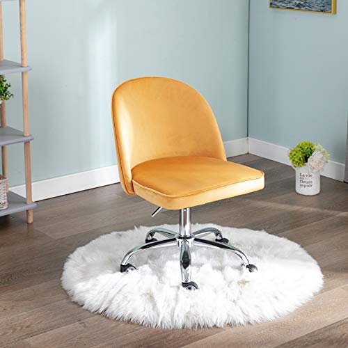 Wahson Velvet Desk Chair Swivel Computer Chair Height Adjustable Armless Task Chair for Home Office (Yellow)