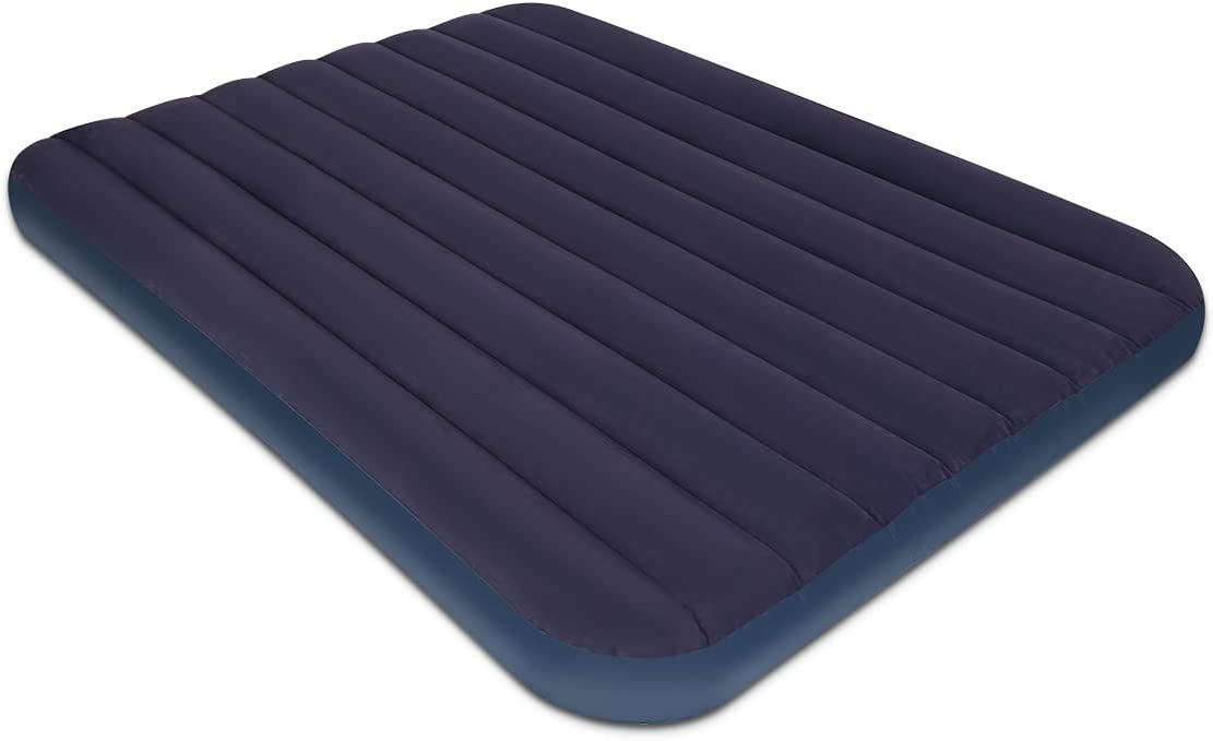Queen Size Air Mattress for Tents - Portable Navy Line Blow Up Bed with Flocked top - Double Foldable Inflatable Bed for Car Camping Home Travel Backpacking