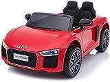 RIRICAR Elektroauto R8 Small, Rot, Originallizenz, Batteriebetrieben, Türen öffnend, 2X 35 W Motor, 12 V Batterie, 2,4 GHz Fernbedienung, weiche Eva-Räder, Federung, Sanftanlauf