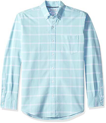 Amazon Essentials - Camisa Oxford a cuadros de manga larga con bolsillo para hombre, Azul (Aqua Windowpane Aqu), US S (EU S)