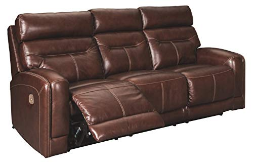 Signature Design by Ashley Sessom Power Reclining Sofa with Adjustable Headrest Walnut